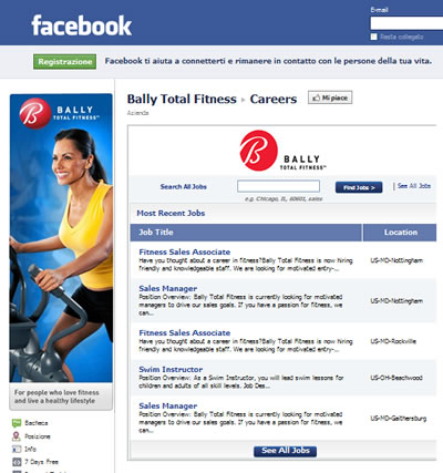 Fitness center: Ricerca di personale su facebook